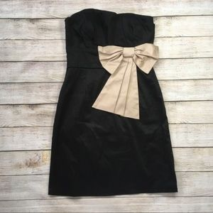 Black strapless cocktail dress w accent bow, large